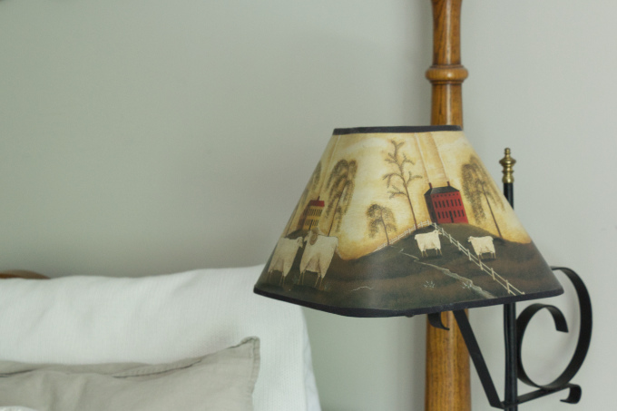 Old Farm Lamp Bedside in Master Bedroom