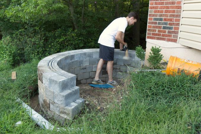 Versa-lok cobble stone DIY retaining wall Before
