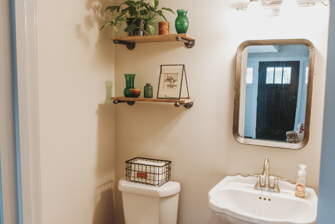 Half bathroom makeover shelving vintage industrial farmhouse decor plants modern shelving above toilet industrial decor