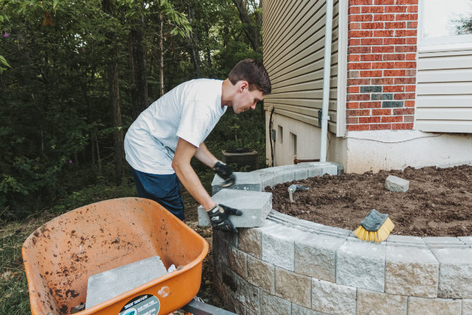 Versa Lok Landscape Retaining Wall Front Yard Cap Stone Placement