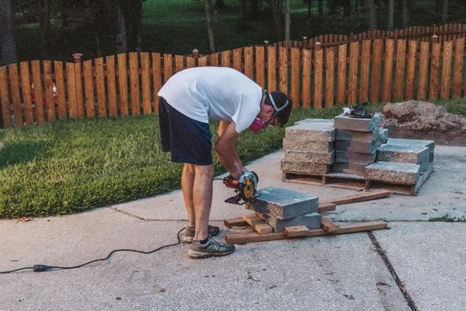 Versa Lok Landscape Retaining Wall Block Cutting with Circular Saw