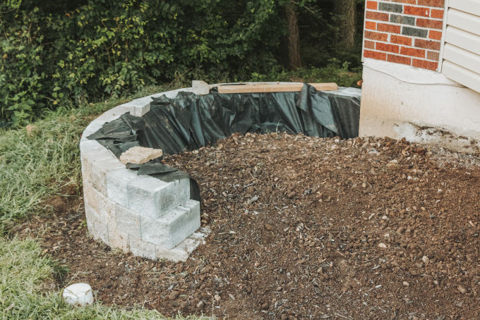 Versa Lok Landscape Retaining Wall Front Yard Dirt Fill
