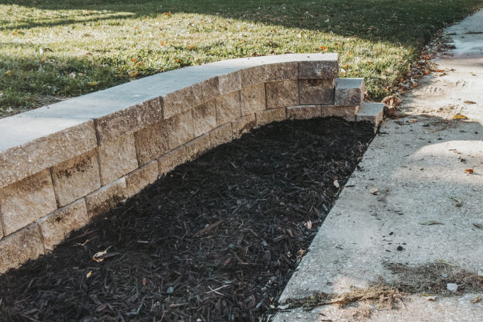 Versa Lok Landscape Retaining Wall Driveway After Mulch