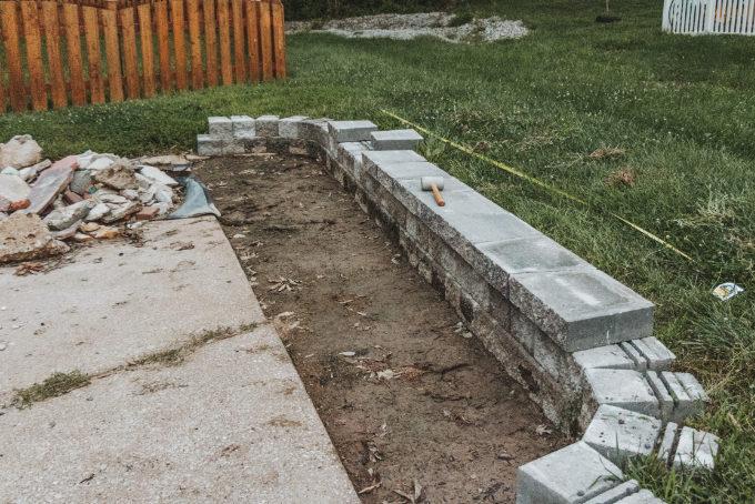 Versa Lok Landscape Retaining Wall Driveway Progress