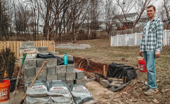 Versa Lok Landscape Retaining Wall Driveway Beginning Before