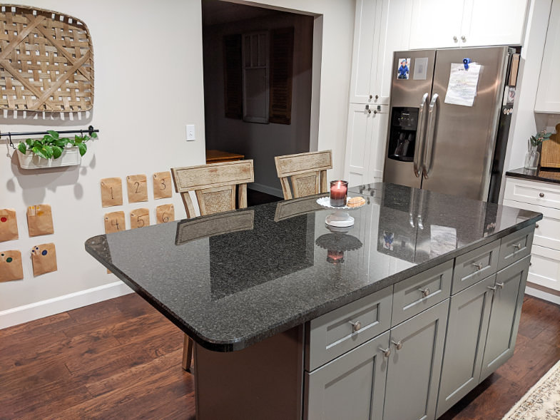 Cushioned bar stool wide angle of kitchen island